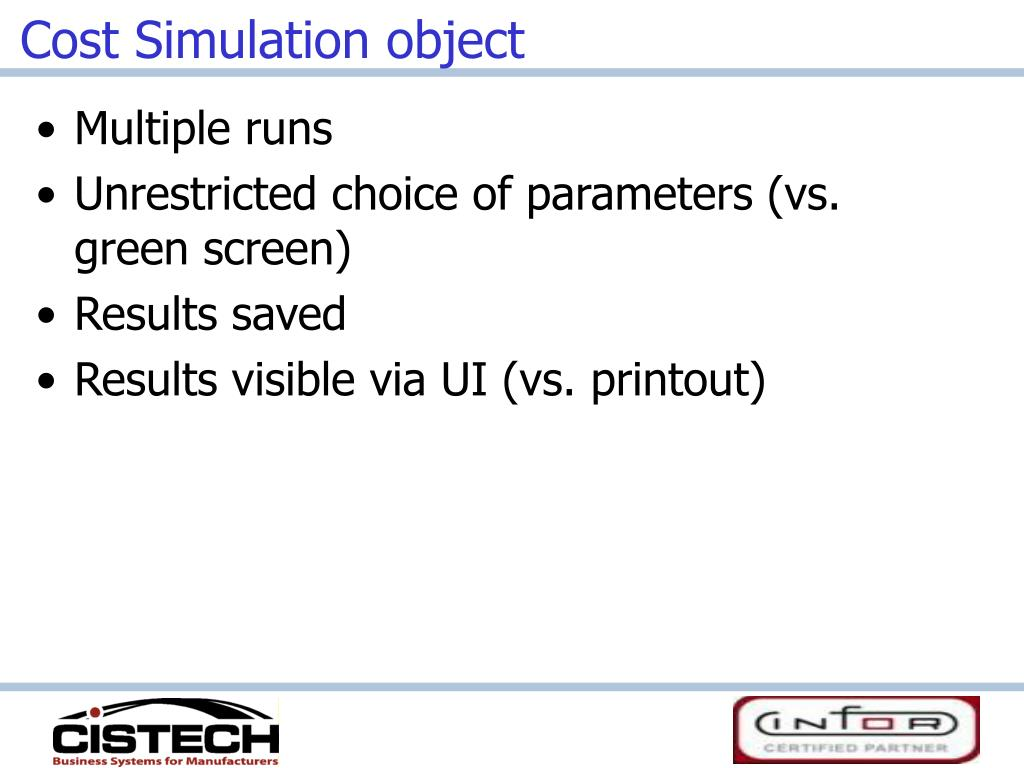 Cost Simulation object