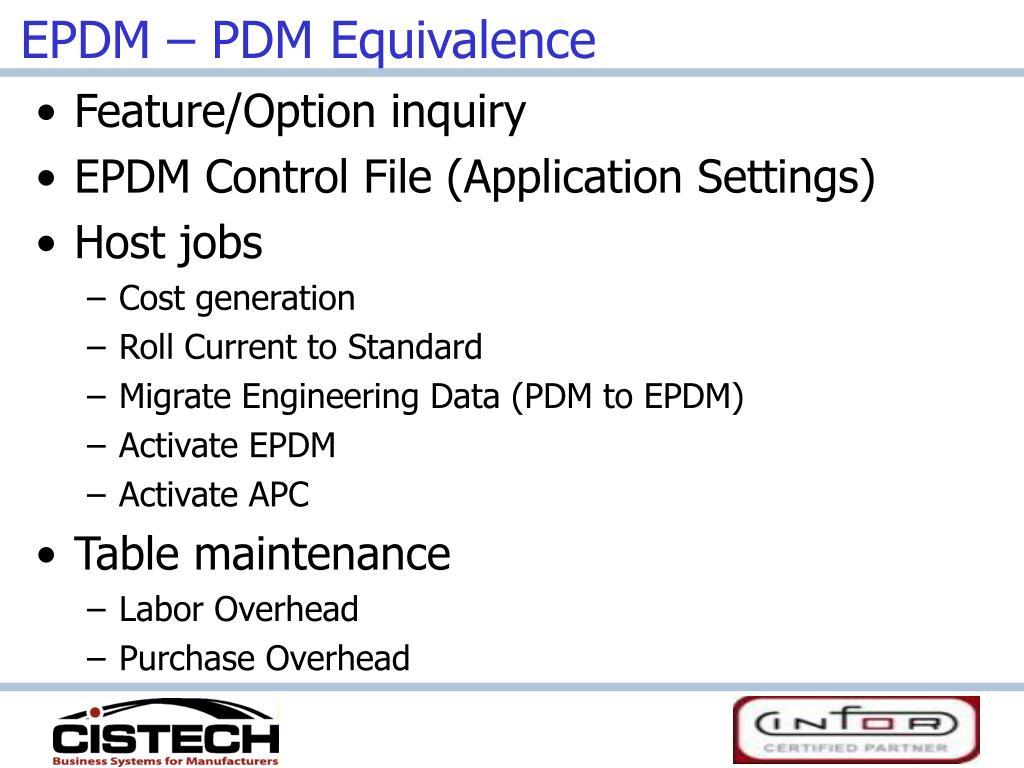 EPDM – PDM Equivalence