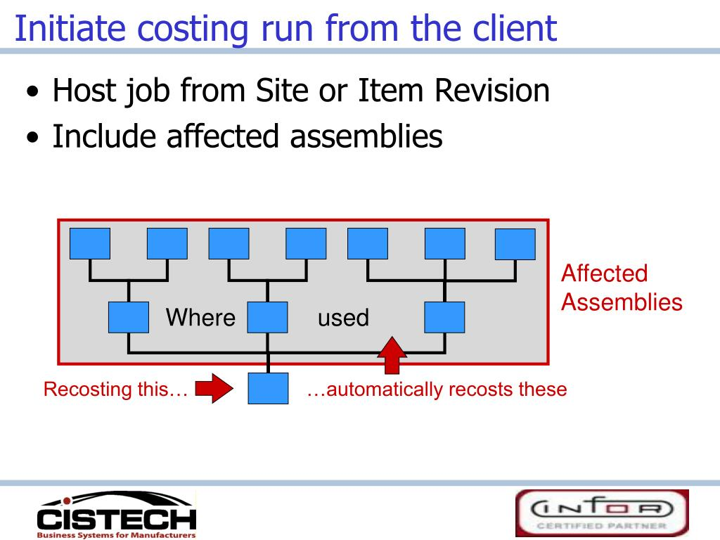 Initiate costing run from the client