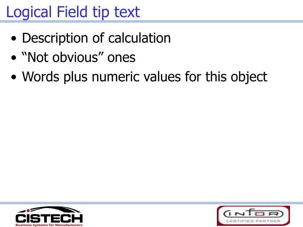 Logical Field tip text