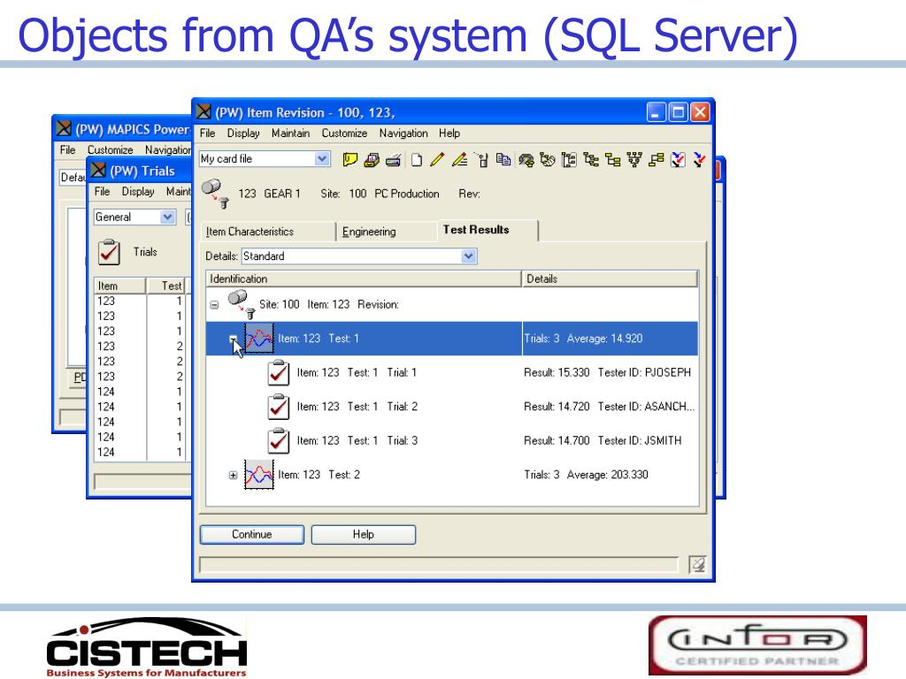 Objects from QA's system (SQL Server)
