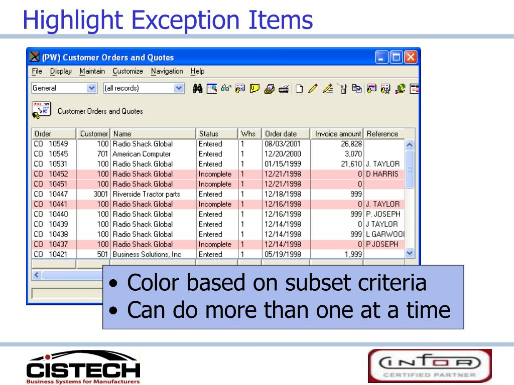 Highlight Exception Items