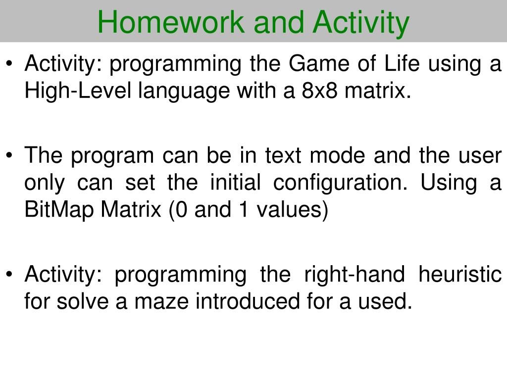 Homework and Activity