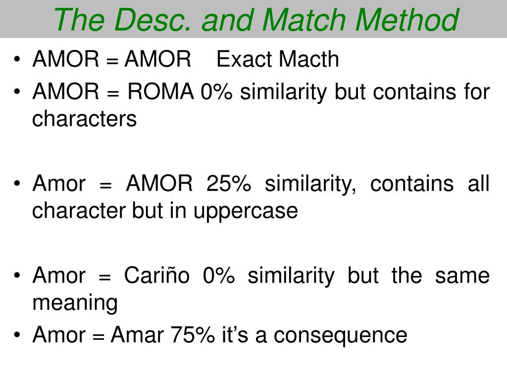 The Desc. and Match Method