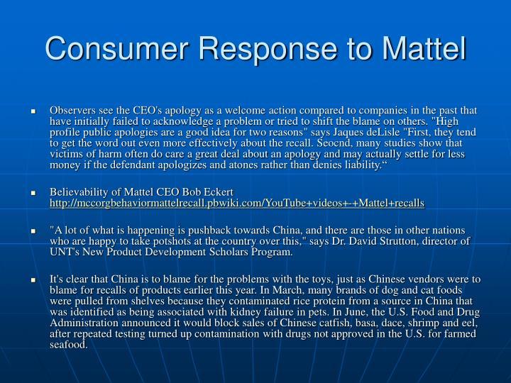 Consumer Response to Mattel