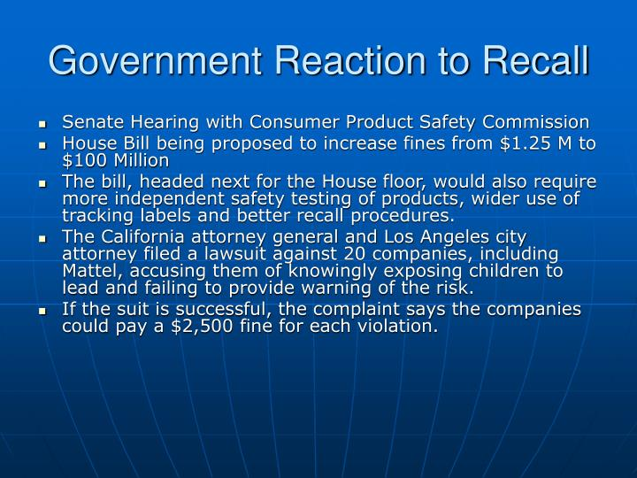 Government Reaction to Recall