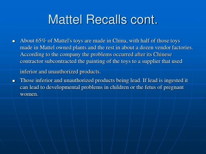 Mattel Recalls cont.