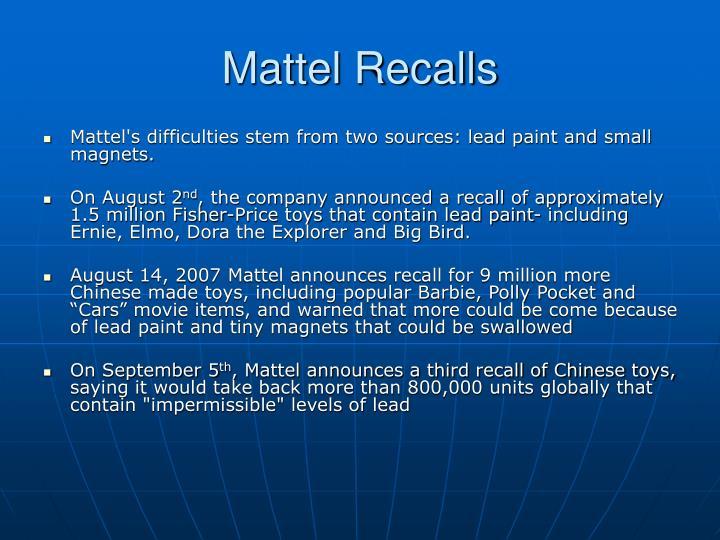 Mattel Recalls