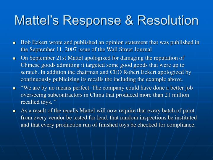 Mattel's Response & Resolution