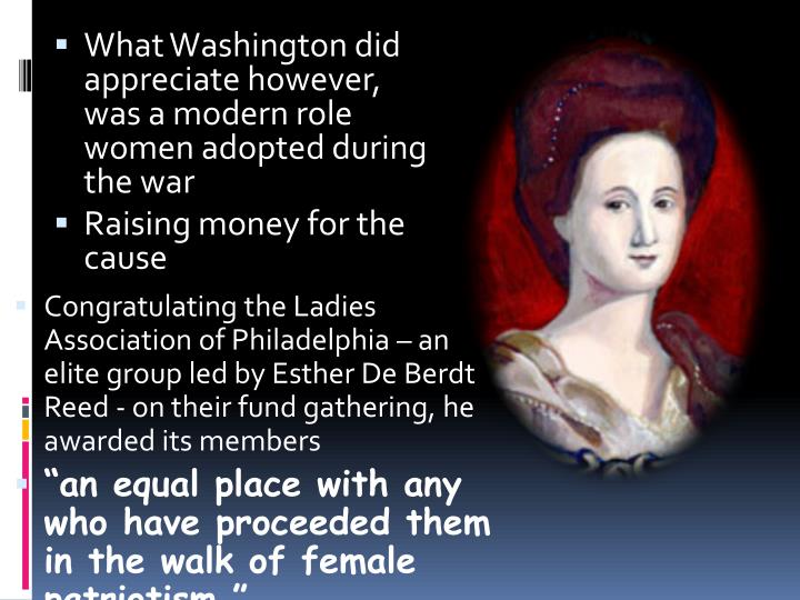 Congratulating the Ladies Association of Philadelphia – an elite group led by Esther De