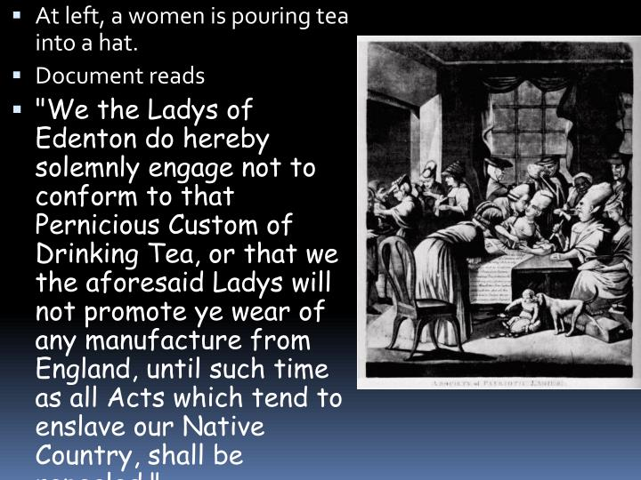 At left, a women is pouring tea into a hat.