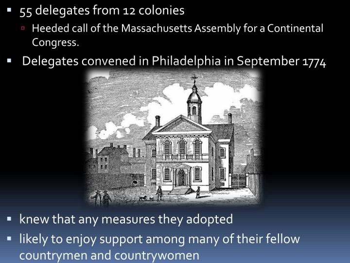 55 delegates from 12 colonies
