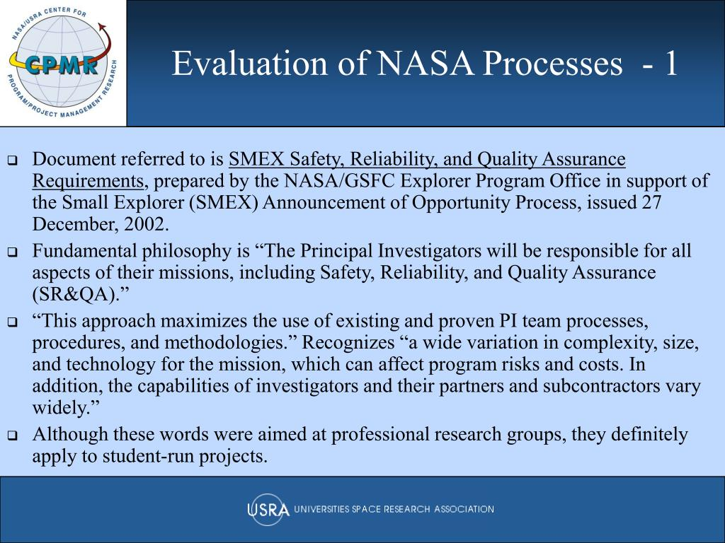 Evaluation of NASA Processes  - 1