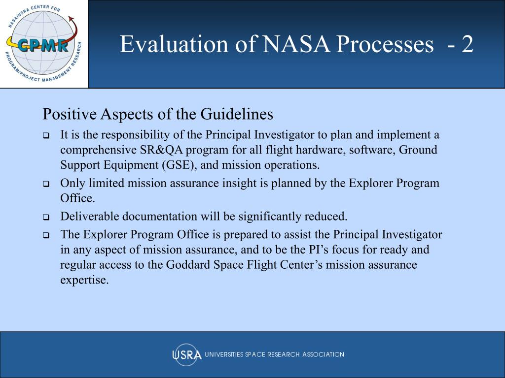 Evaluation of NASA Processes  - 2