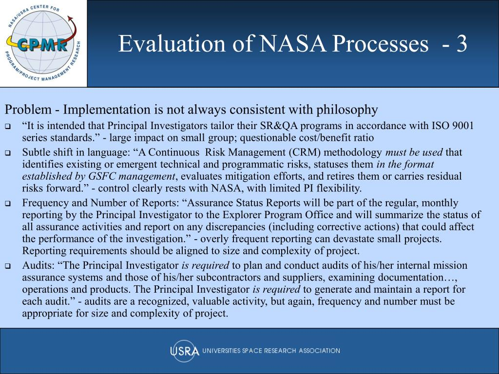 Evaluation of NASA Processes  - 3