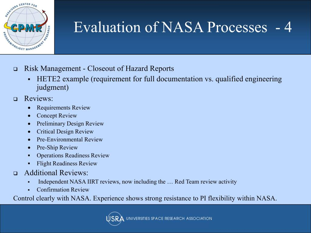 Evaluation of NASA Processes  - 4
