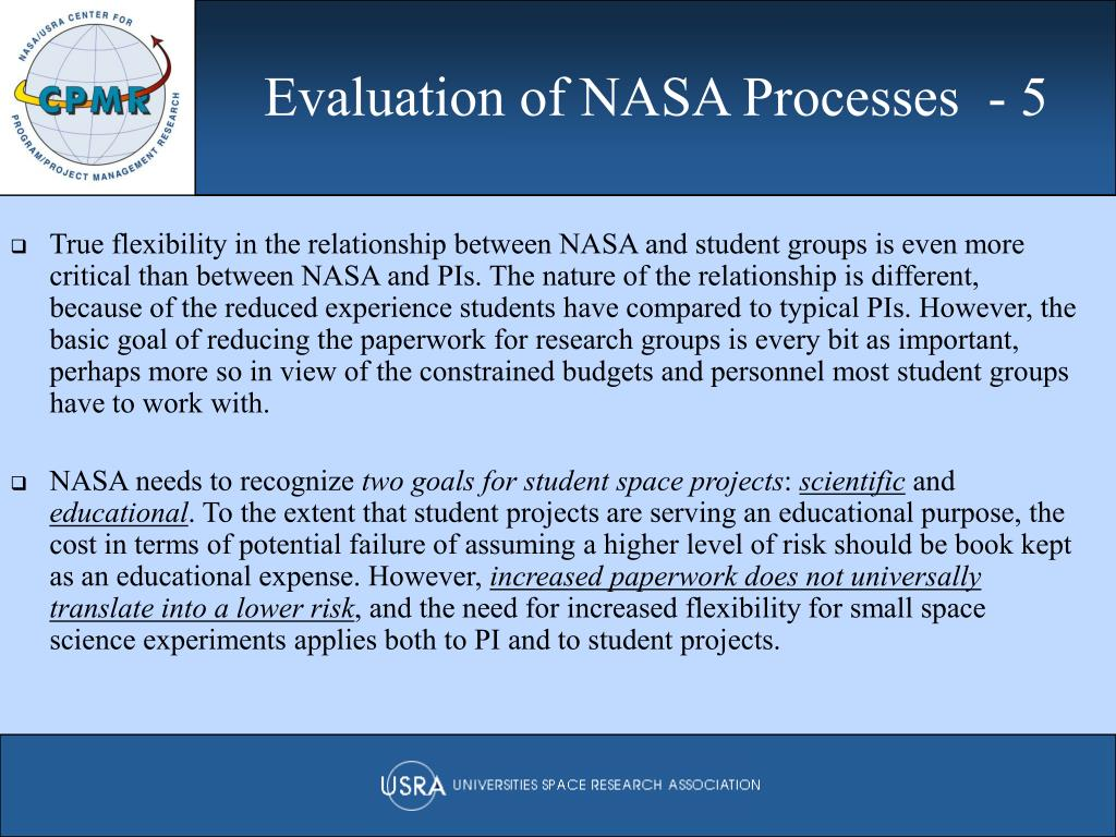 Evaluation of NASA Processes  - 5