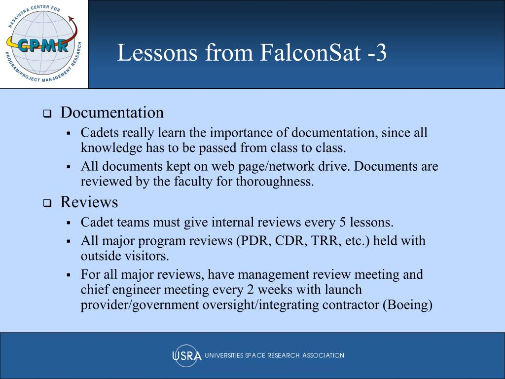 Lessons from FalconSat -3