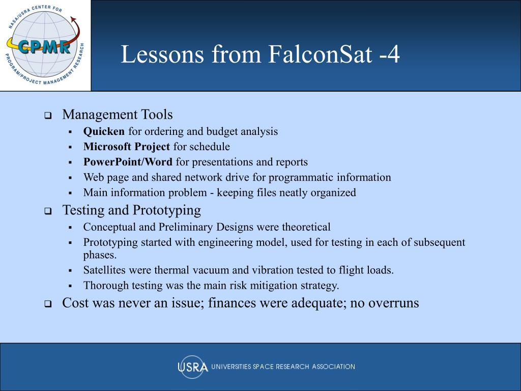 Lessons from FalconSat -4