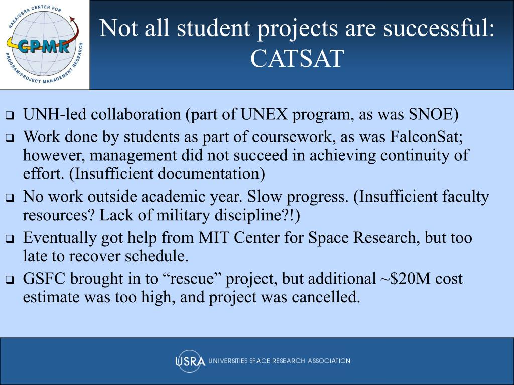 Not all student projects are successful: