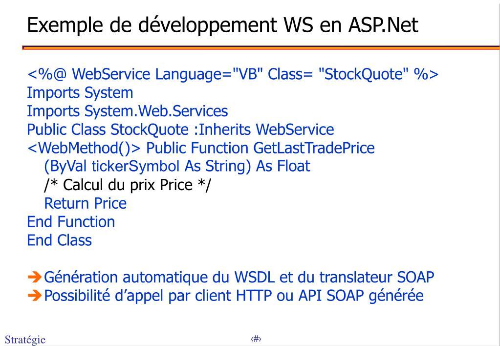 Exemple de développement WS en ASP.Net