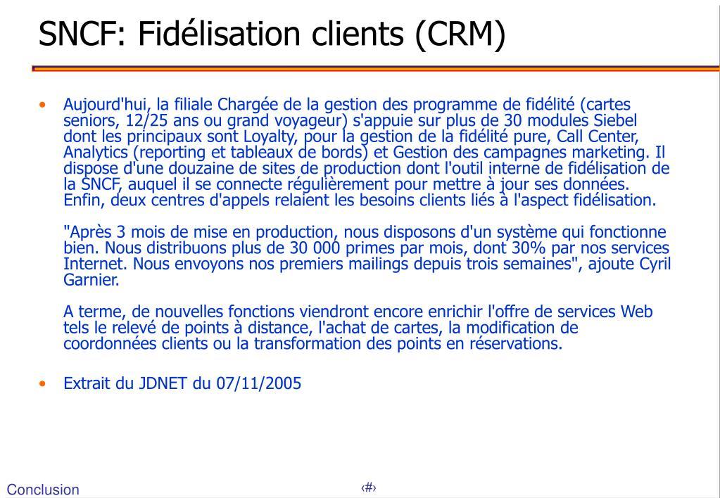 SNCF: Fidélisation clients (CRM)