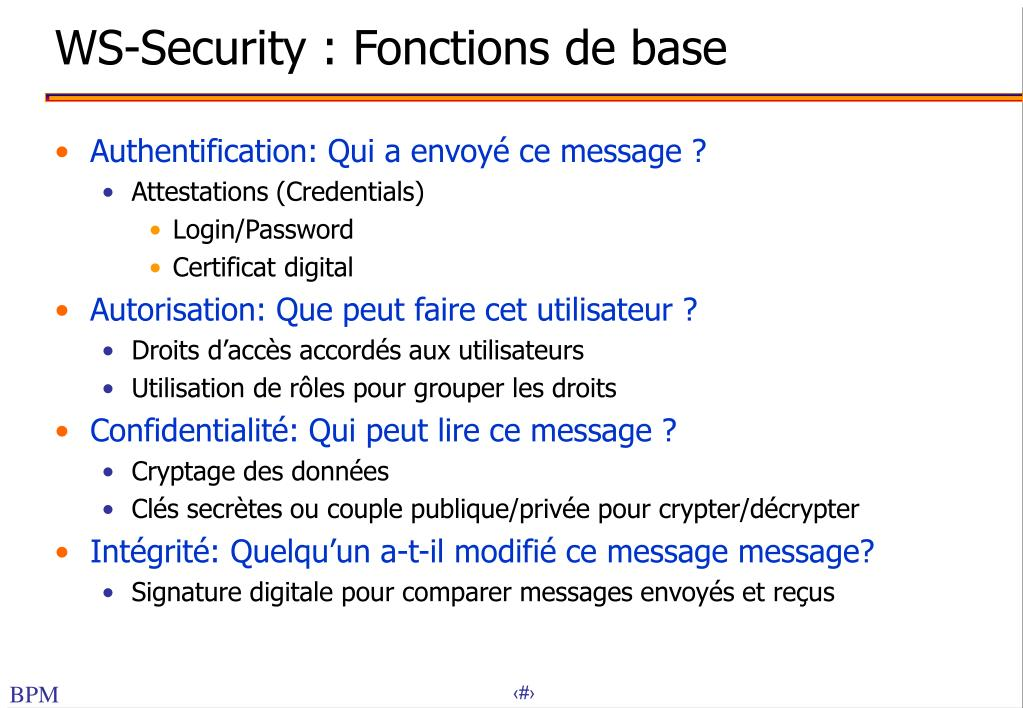 WS-Security : Fonctions de base