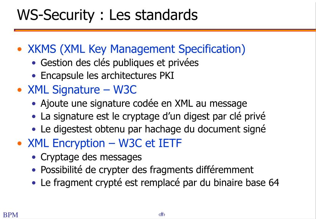 WS-Security : Les standards
