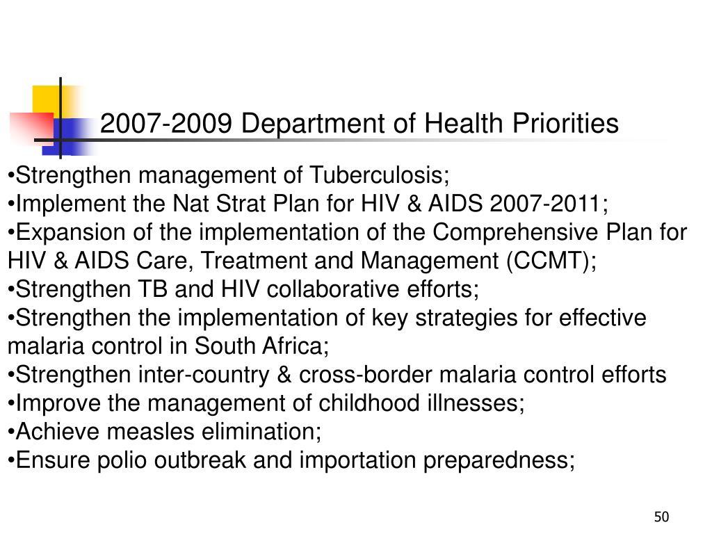 2007-2009 Department of Health Priorities