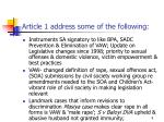 article 1 address some of the following