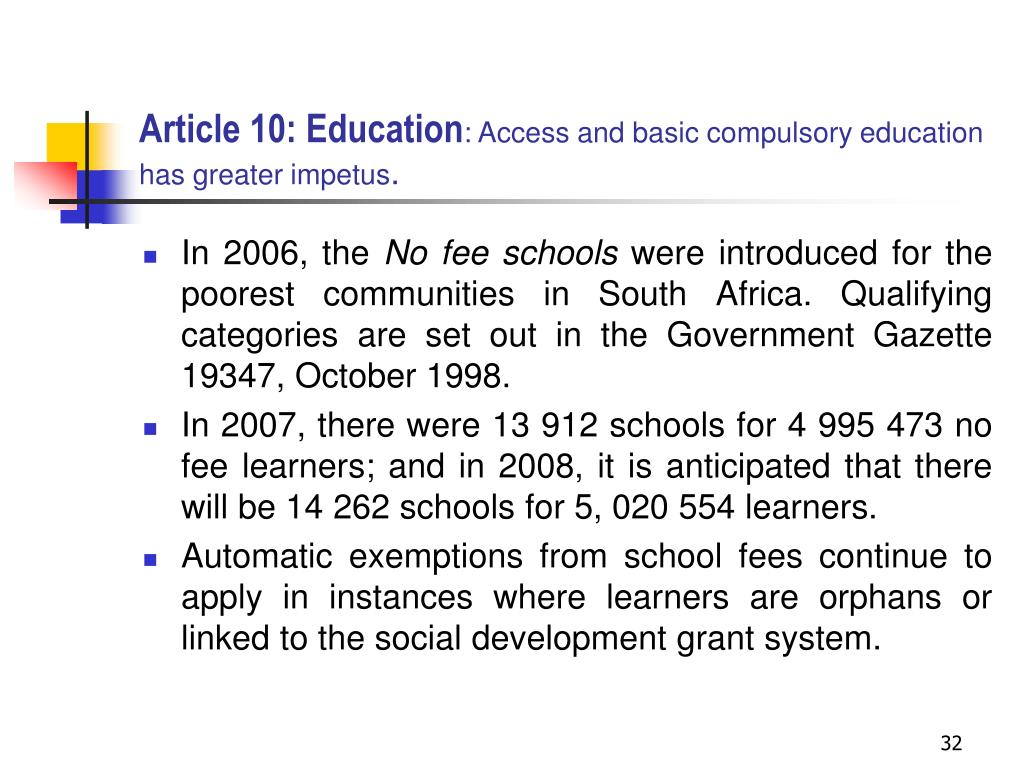 Article 10: Education