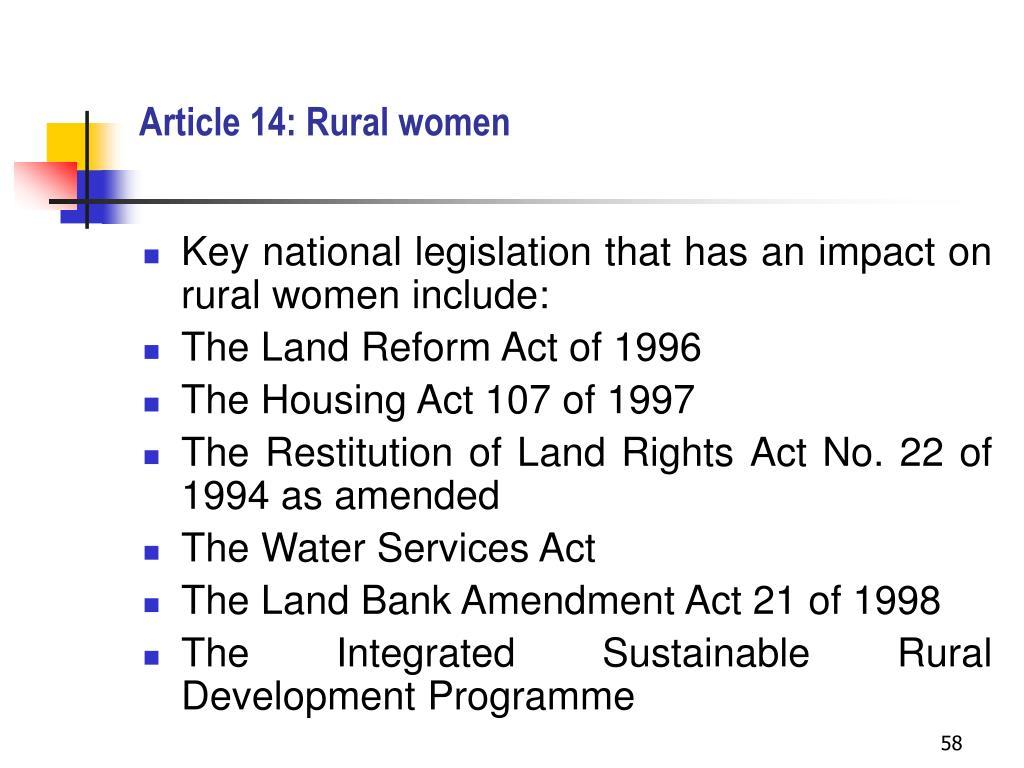 Article 14: Rural women