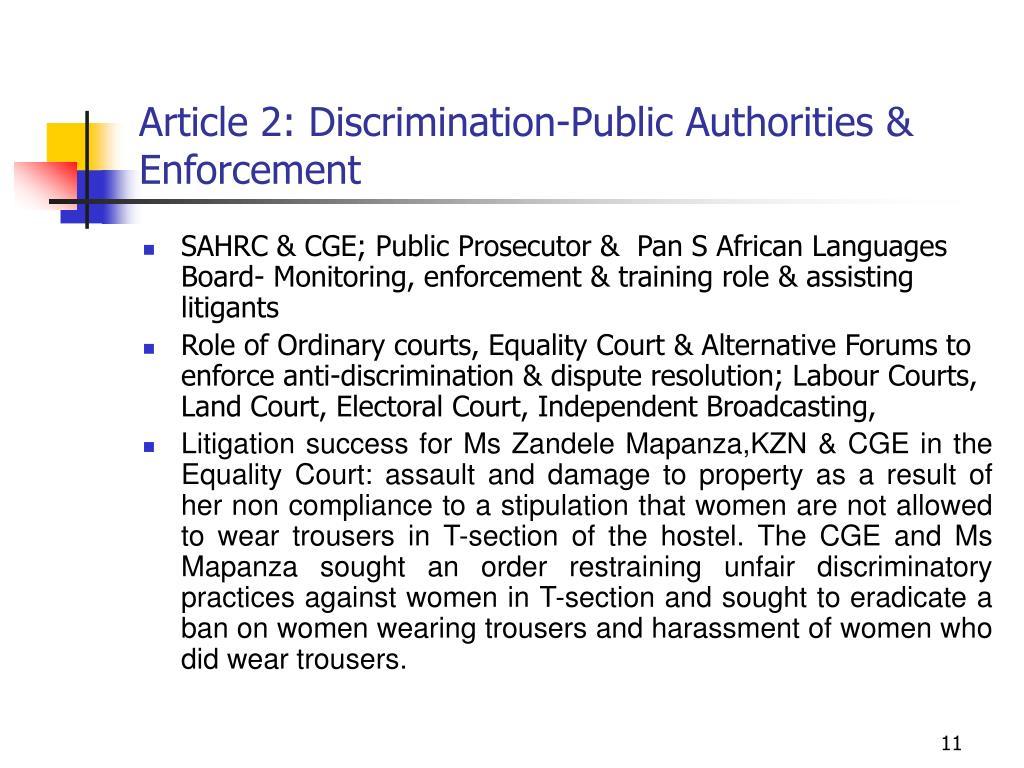 Article 2: Discrimination-Public Authorities & Enforcement