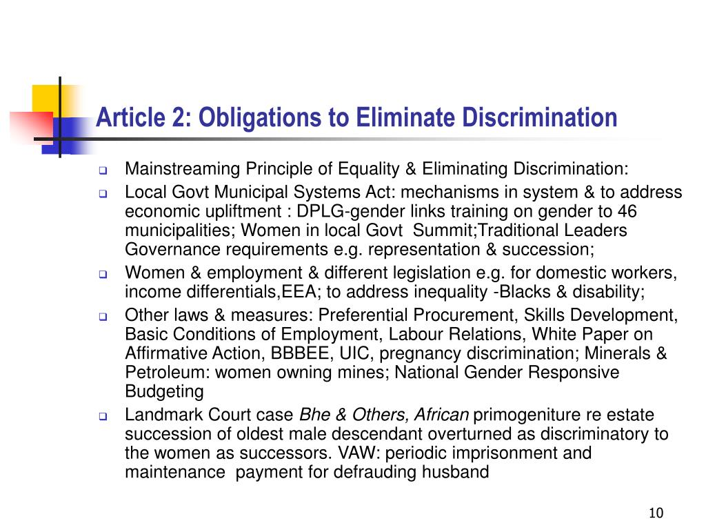 Article 2: Obligations to Eliminate Discrimination