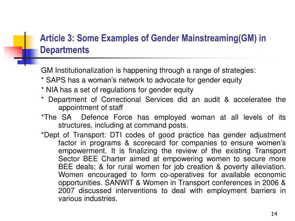 Article 3: Some Examples of Gender Mainstreaming(GM) in Departments