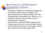 best practices in cedaw report re advancement of women