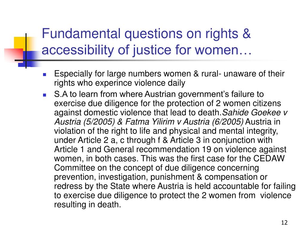 Fundamental questions on rights & accessibility of justice for women…