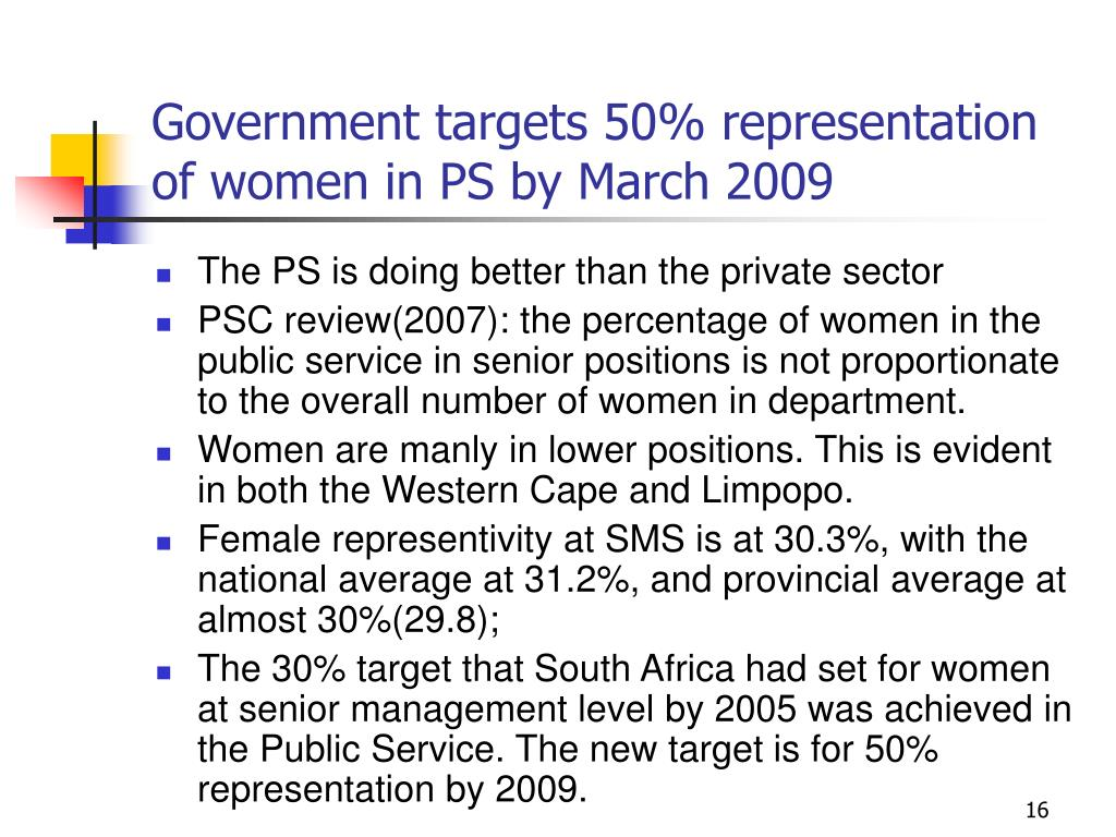 Government targets 50% representation of women in PS by March 2009
