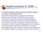 health priorities to 2009 cont