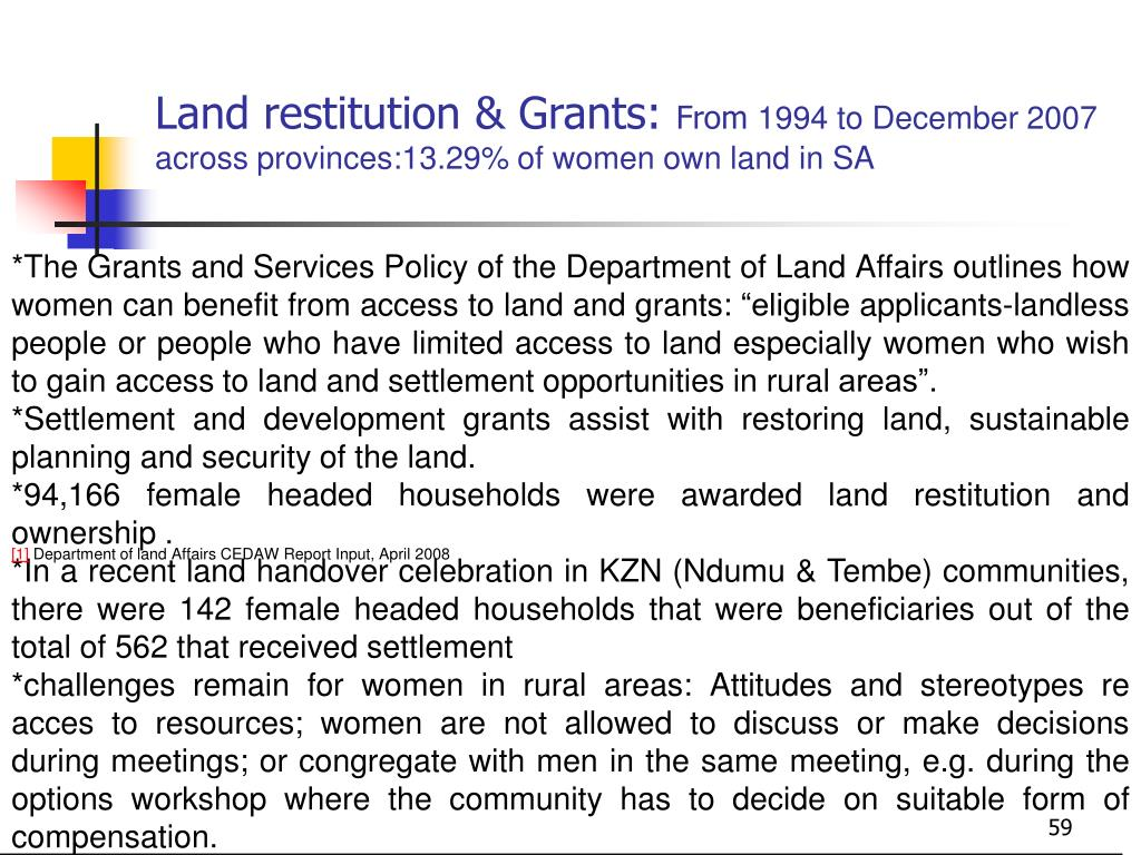 Land restitution & Grants: