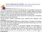 land restitution grants from 1994 to december 2007 across provinces 13 29 of women own land in sa