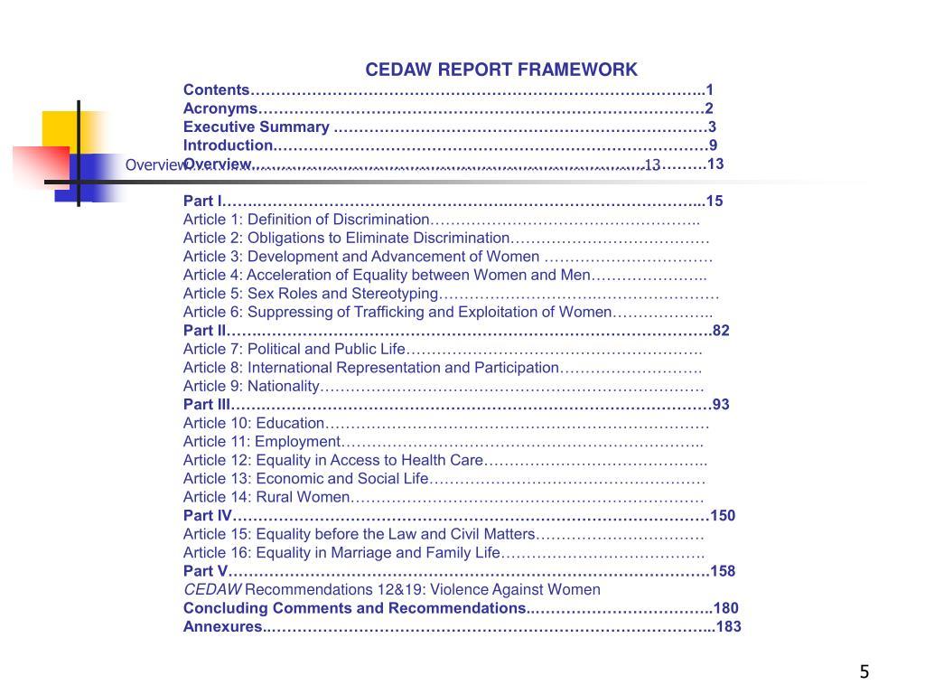 CEDAW REPORT FRAMEWORK