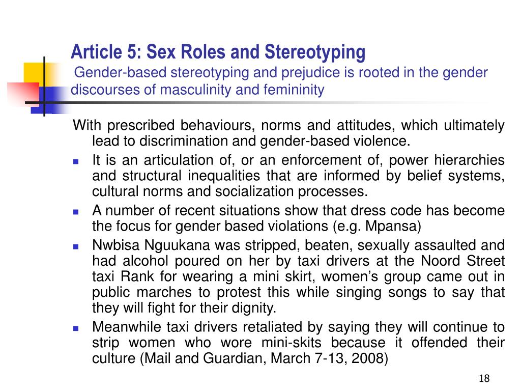 Article 5: Sex Roles and Stereotyping
