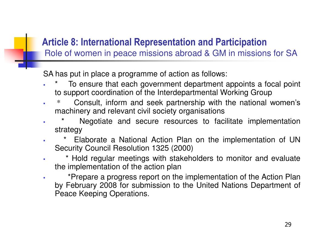 Article 8: International Representation and Participation