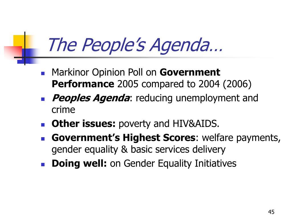 The People's Agenda…