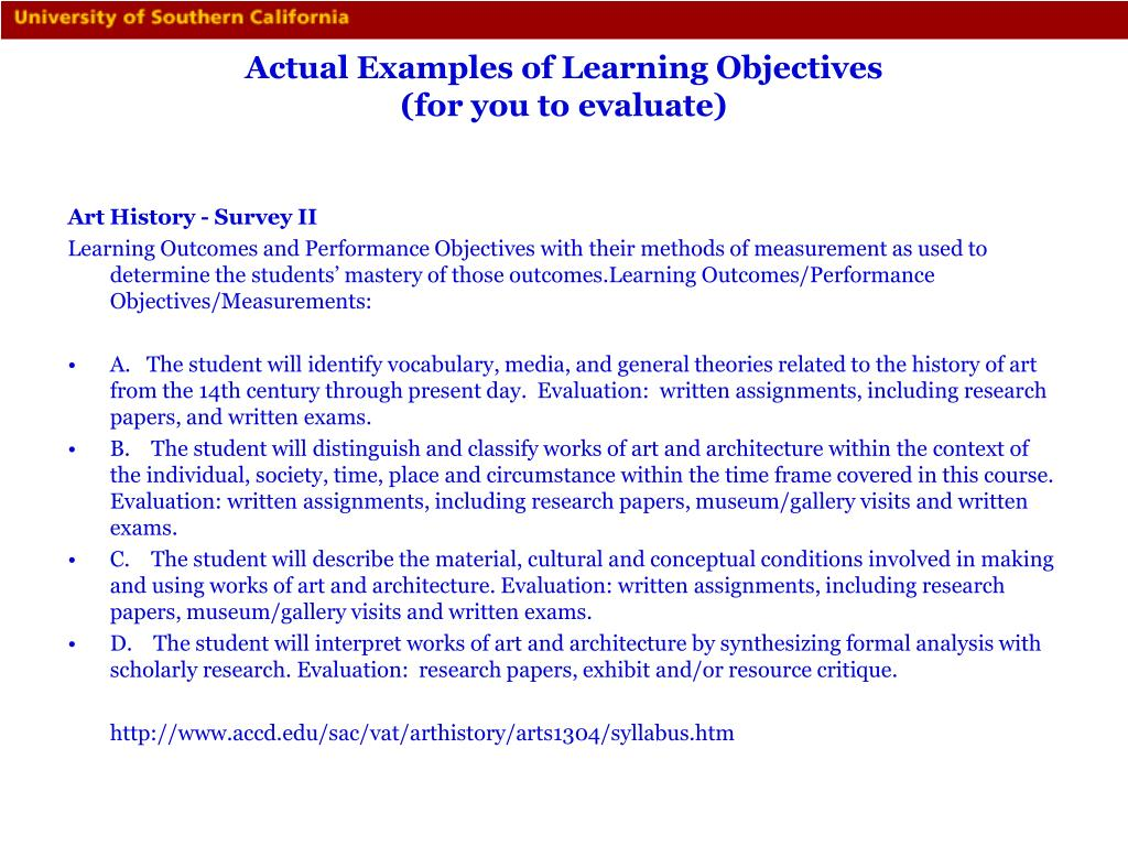 Actual Examples of Learning Objectives
