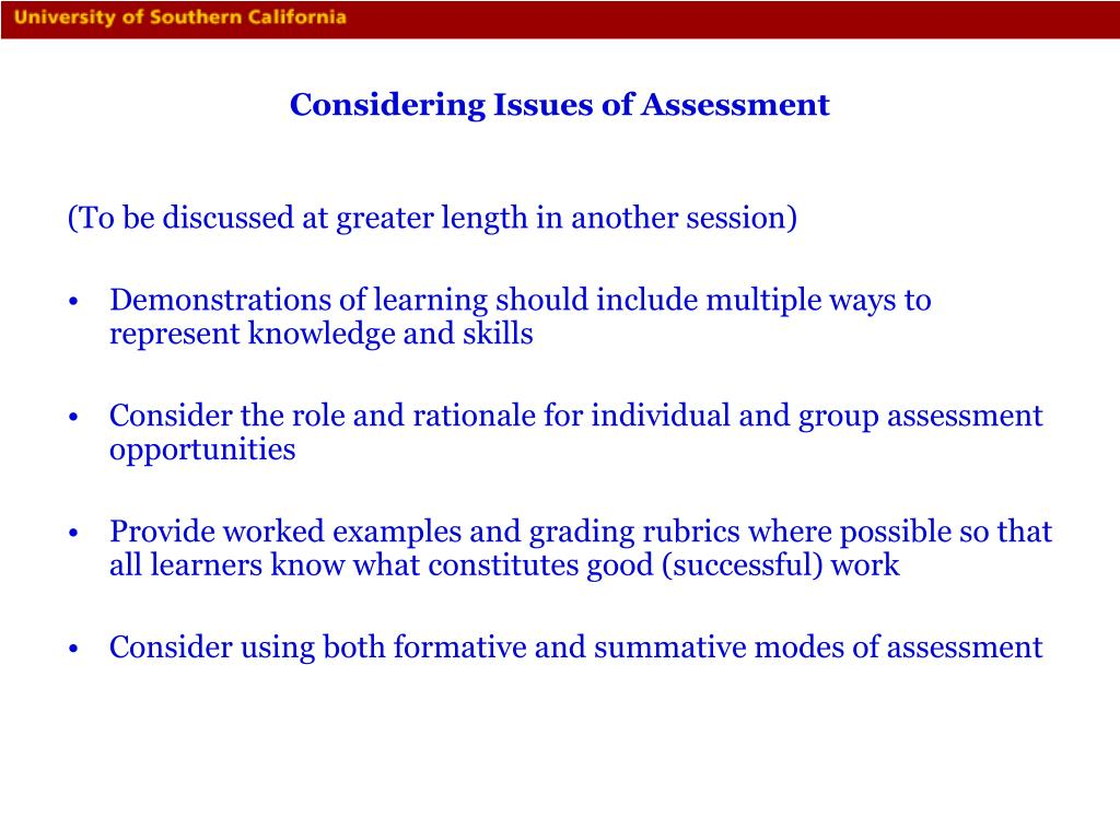 Considering Issues of Assessment