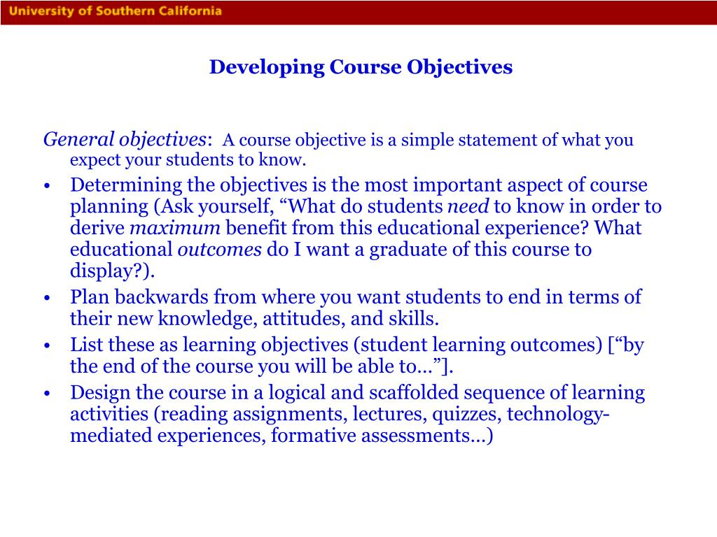 Developing Course Objectives