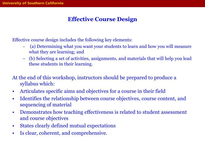 Effective course design