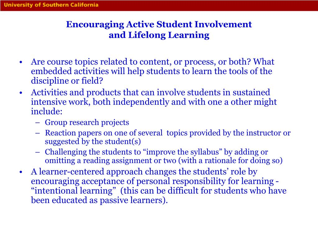 Encouraging Active Student Involvement